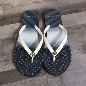 Tory Burch Navy and White Flip Flops